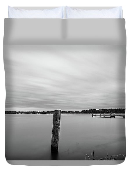Clouds Moving Over Lake Long Exposure Duvet Cover