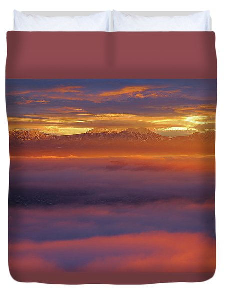 Clouds Of Fire Surround The La Sal Mountains From Dead Horse Point State Park Duvet Cover