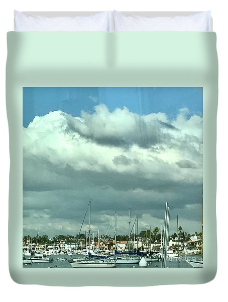 Clouds On The Bay Duvet Cover by Kim Nelson