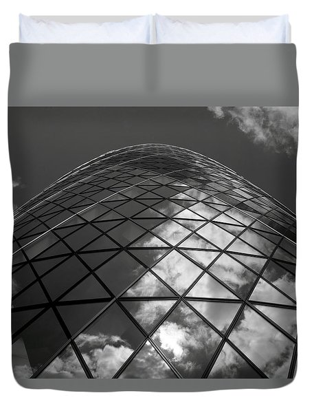 Clouds On The Building Duvet Cover