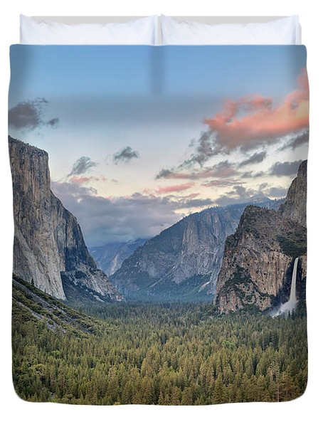 Clouds Over A Valley, Yosemite Valley Duvet Cover by Panoramic Images