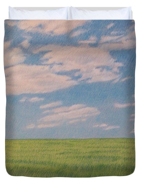 Clouds Over Green Field Duvet Cover