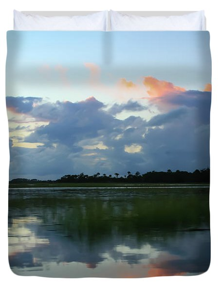 Clouds Over Marsh Duvet Cover