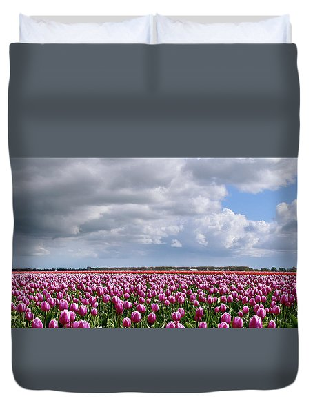 Clouds Over Purple Tulips Duvet Cover