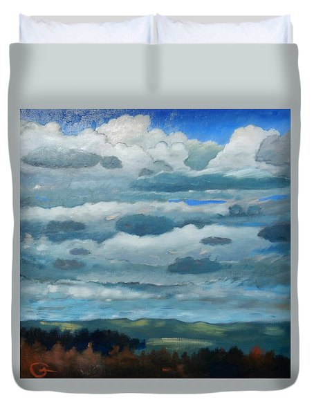 Duvet Cover featuring the painting Clouds Over South Bay by Gary Coleman