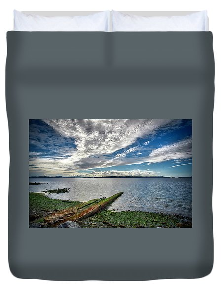 Clouds Over The Bay Duvet Cover