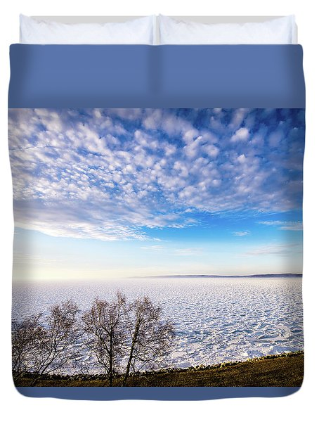 Duvet Cover featuring the photograph Clouds Over The Bay by Onyonet  Photo Studios