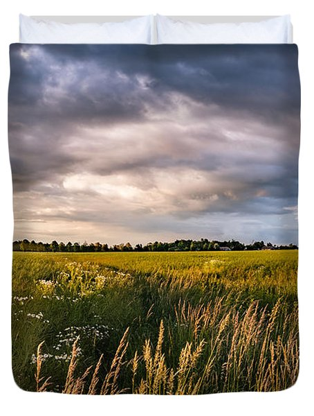 Duvet Cover featuring the photograph Clouds Over The Fields by Dmytro Korol