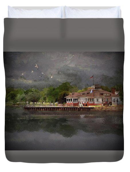 Clouds Over The Harbor Duvet Cover