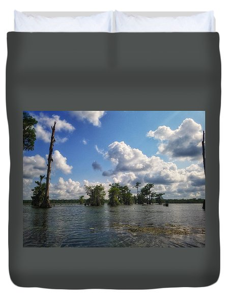 Clouds Over The Louisiana Bayou Duvet Cover