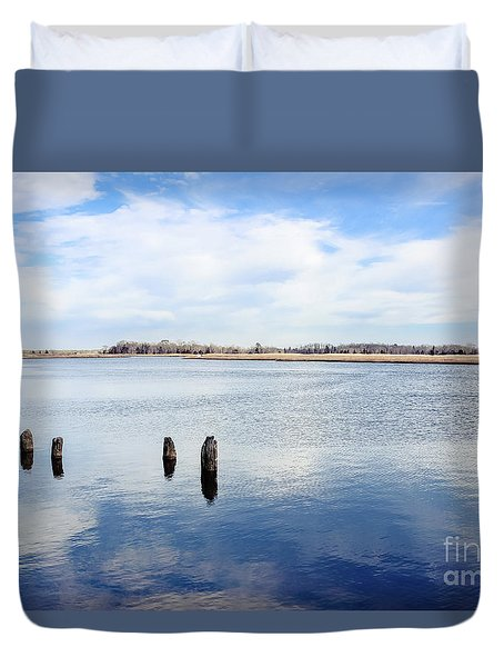 Duvet Cover featuring the photograph Clouds Over The Mullica River by Colleen Kammerer