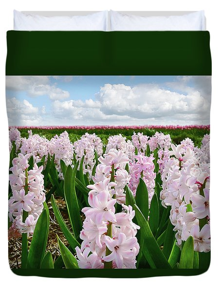 Clouds Over The Pink Hyacinth Field Duvet Cover by Mihaela Pater