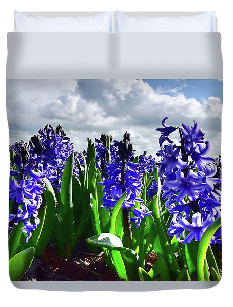 Clouds Over The Purple Hyacinth Field Duvet Cover