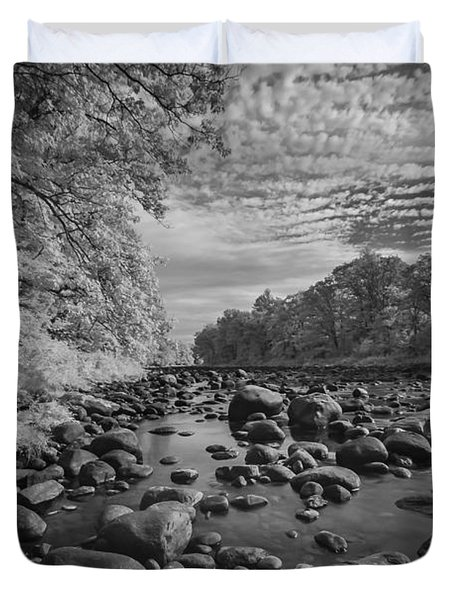 Clouds Over The River Rocks Duvet Cover