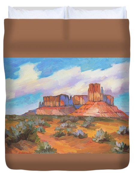 Duvet Cover featuring the painting Clouds Passing Monument Valley by Diane McClary