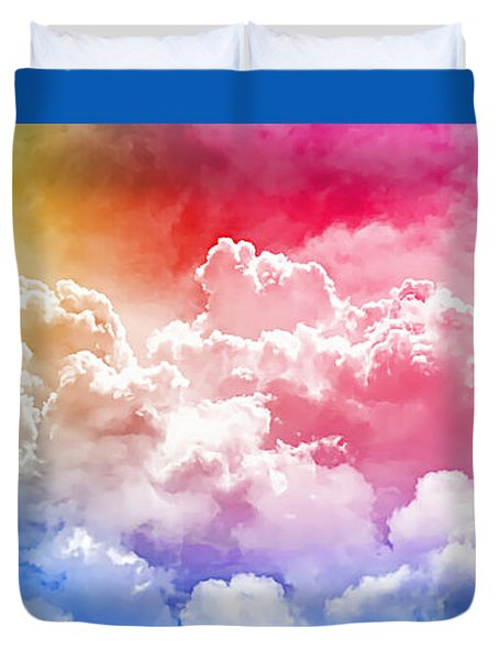 Clouds Rainbow - Nuvole Arcobaleno Duvet Cover by Zedi