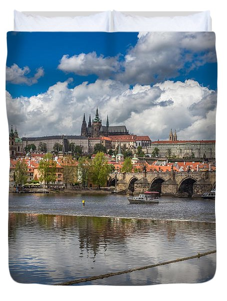Clouds Reflecting In The Vltava River With Prague Castle Charles Bridge St Vitus And St Nicholas Duvet Cover