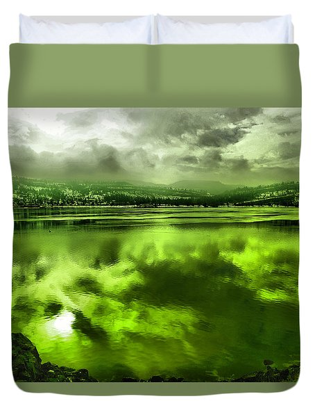 Duvet Cover featuring the photograph Clouds Reflecting Off The Columbia  by Jeff Swan