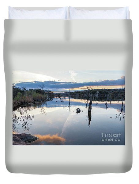 Clouds Reflecting On Large Lake During Sunset Duvet Cover