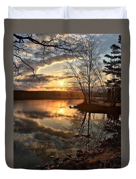 Clouds, Reflection And Sunset  Duvet Cover