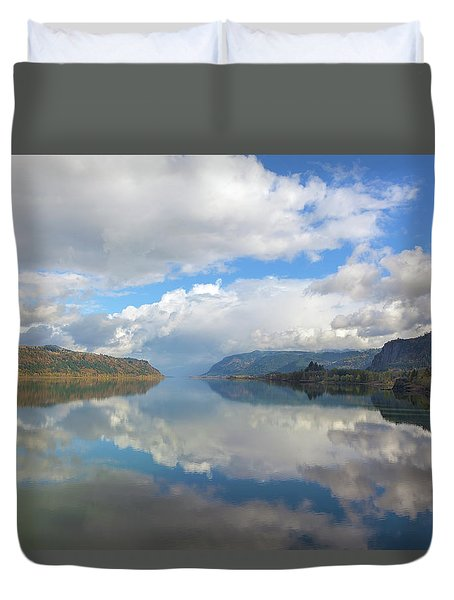 Clouds Reflection On The Columbia River Gorge Duvet Cover by David Gn
