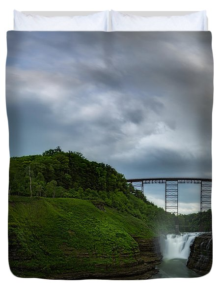 Clouds Roll Over Letchworth Upper Falls  Duvet Cover