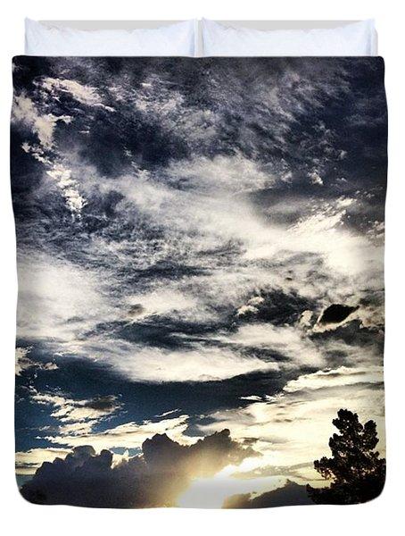 #clouds #sunset #sun #sky #relax Duvet Cover