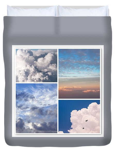 Duvet Cover featuring the photograph Cloudscapes Collage by Jenny Rainbow