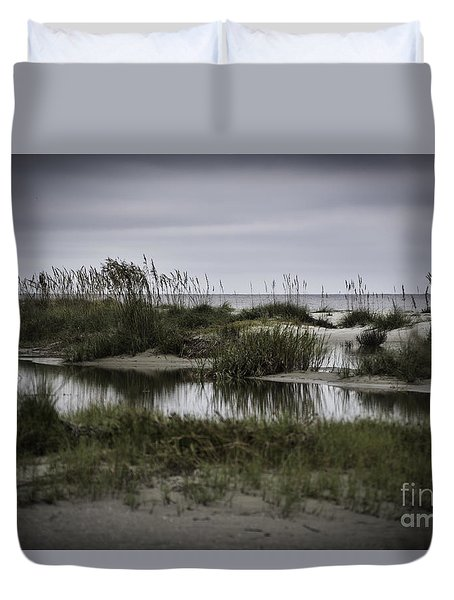 Cloudy Beach Day Duvet Cover by Judy Wolinsky