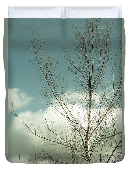 Duvet Cover featuring the photograph Cloudy Blue Sky Through Tree Top No 2 by Ben and Raisa Gertsberg
