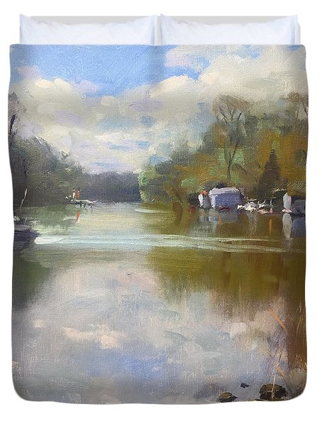 Cloudy Day At Mayors Park Duvet Cover