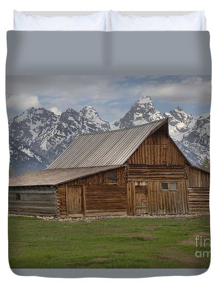 Cloudy Day At The Moulton Barn Duvet Cover by Adam Jewell