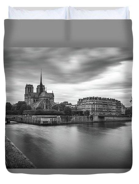 Cloudy Day On The Seine Duvet Cover