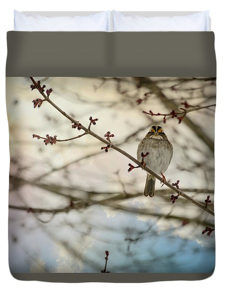 Duvet Cover featuring the photograph Cloudy Finch by Trish Tritz