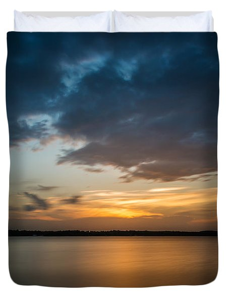 Cloudy Lake Sunset Duvet Cover