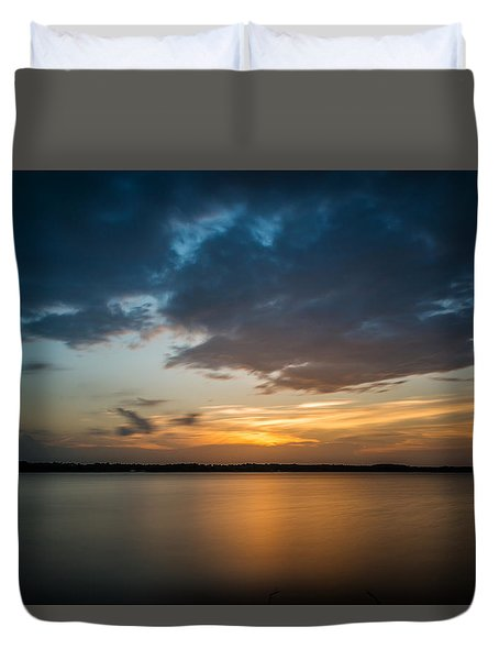 Cloudy Lake Sunset Duvet Cover