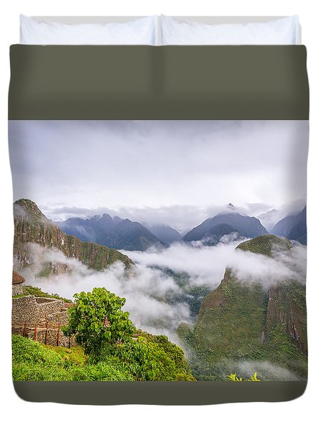 Duvet Cover featuring the photograph Cloudy Mountains. by Gary Gillette