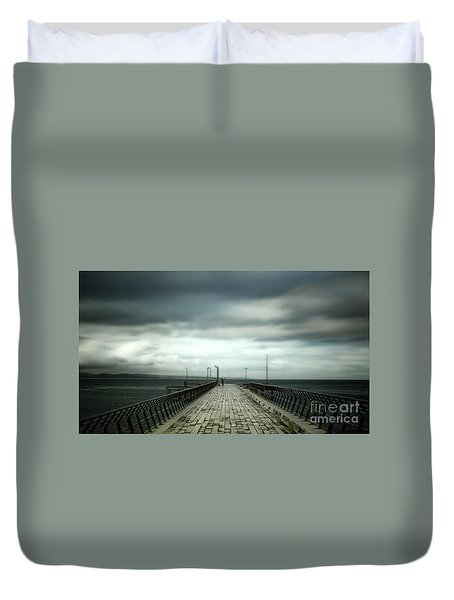 Duvet Cover featuring the photograph Cloudy Pier by Perry Webster
