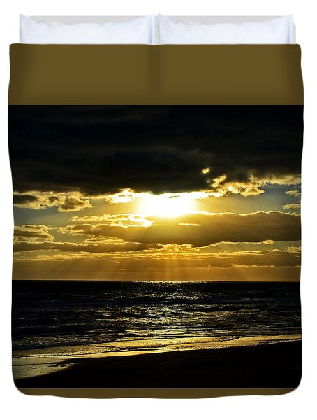 Cloudy Sunrise At Flagler Beach 002 Duvet Cover by George Bostian