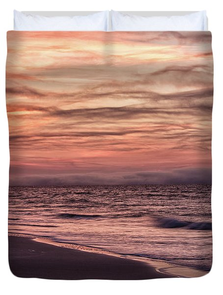 Duvet Cover featuring the photograph Cloudy Sunrise At The Beach by John McGraw