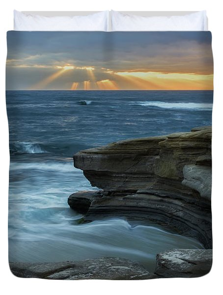 Cloudy Sunset At La Jolla Shores Beach Duvet Cover
