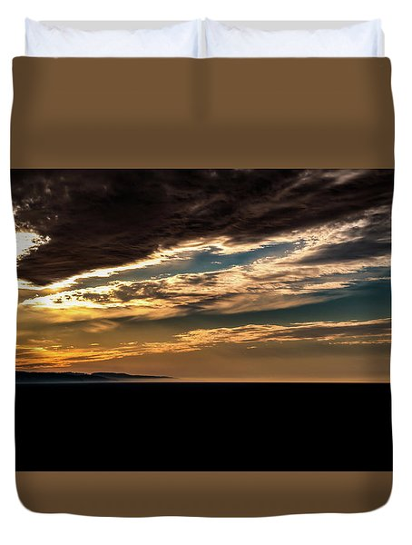 Duvet Cover featuring the photograph Cloudy Sunset by Onyonet  Photo Studios