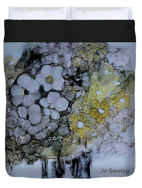 Duvet Cover featuring the painting Cloudy With A Chance Of Sunshine by Joanne Smoley