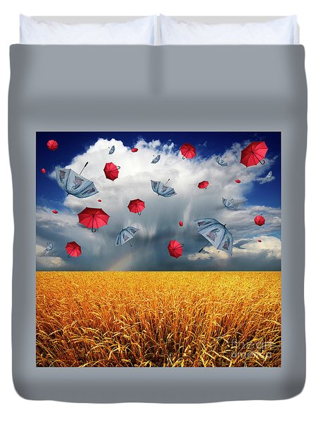 Cloudy With A Chance Of Umbrellas Duvet Cover