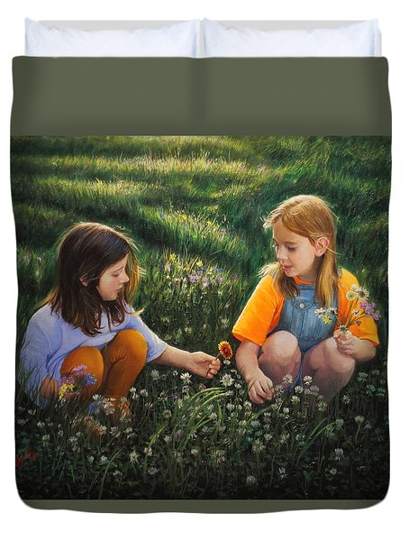 Duvet Cover featuring the painting Clover Field Surprise by Glenn Beasley