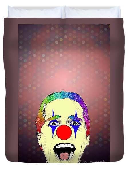 Duvet Cover featuring the drawing clown Christian Bale by Jason Tricktop Matthews