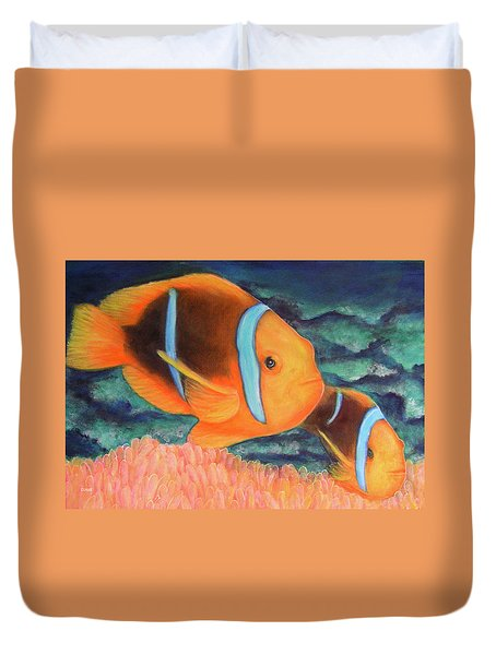 Clown Fish #310 Duvet Cover by Donald k Hall