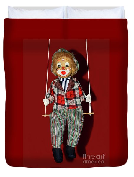 Duvet Cover featuring the photograph Clown On Swing By Kaye Menner by Kaye Menner
