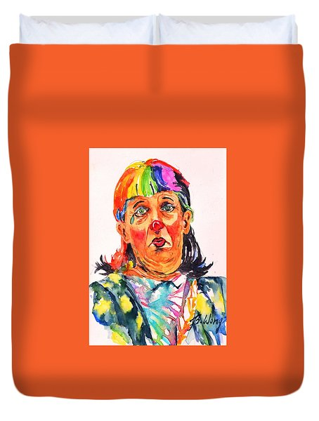 Clown Series Oh No  Duvet Cover by Betty M M Wong