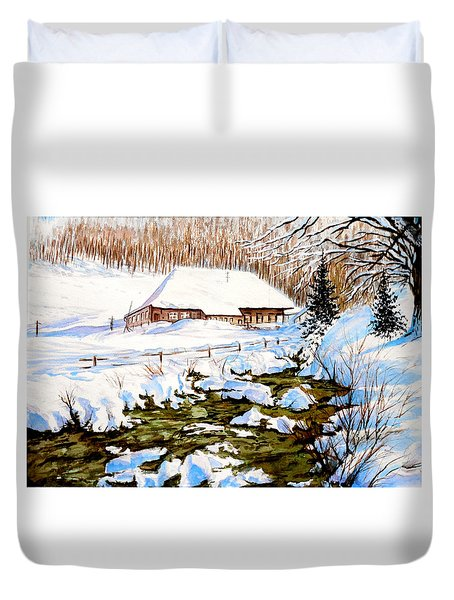 Clubhouse In Winter Duvet Cover